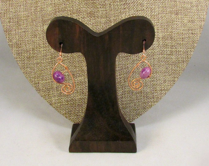 Copper swilrls with purple stones earrings