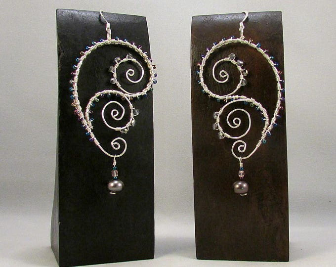 Silver paisley and swirls wire wrap earrings