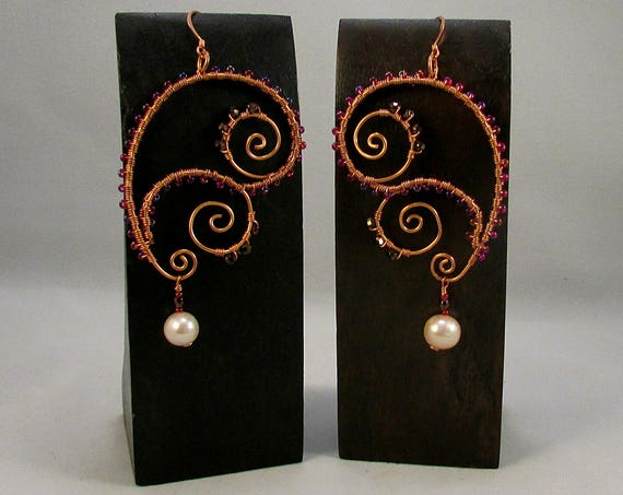 Copper paisley and swirls wire wrap earrings