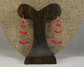 copper wire bubble earrings with pink beads