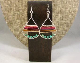 Silver teardrop with beads earrings