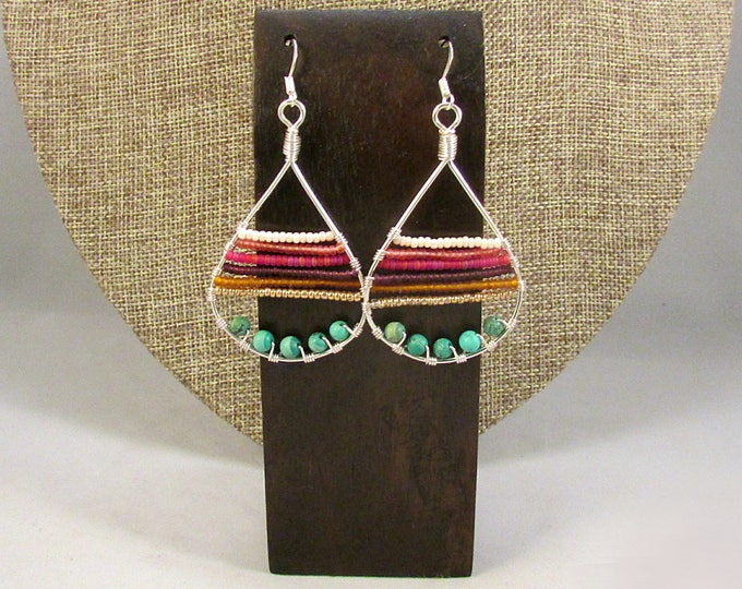 Silver teardrop with beads earrings