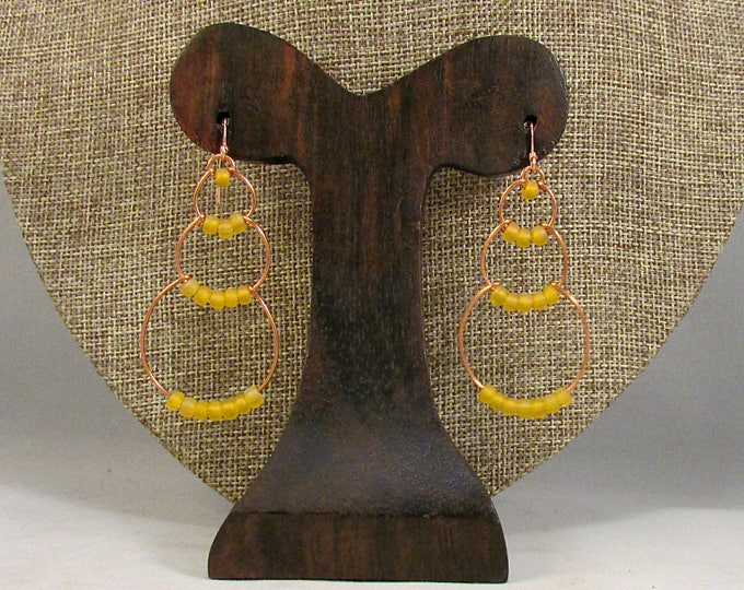 copper wire bubbles with yellow beads