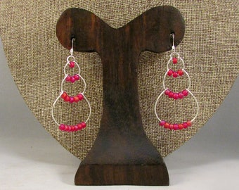 Silver wire bubble earrings with pink beads
