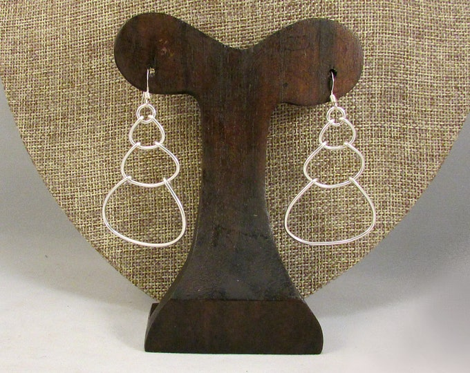 Silver wire bubble earrings