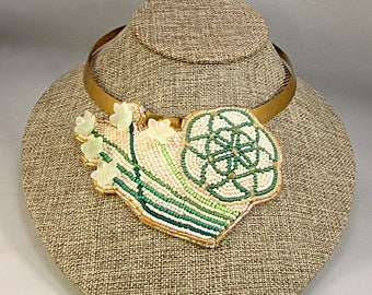 Beaded flower of life necklace