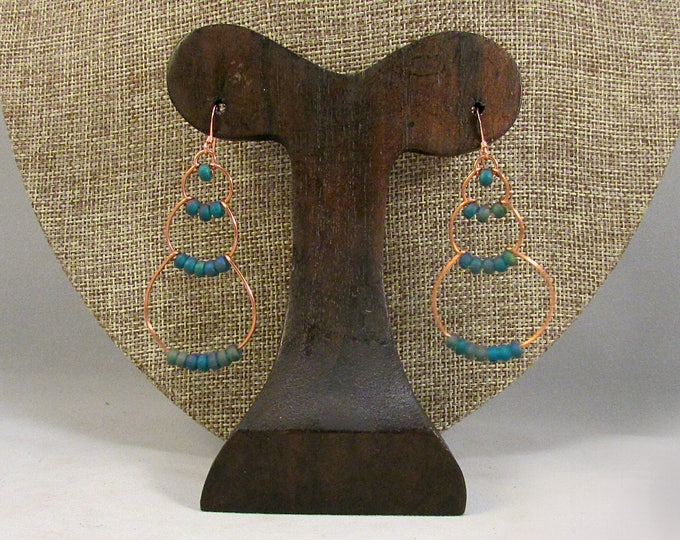 copper wire bubble earrings with dark blue beads