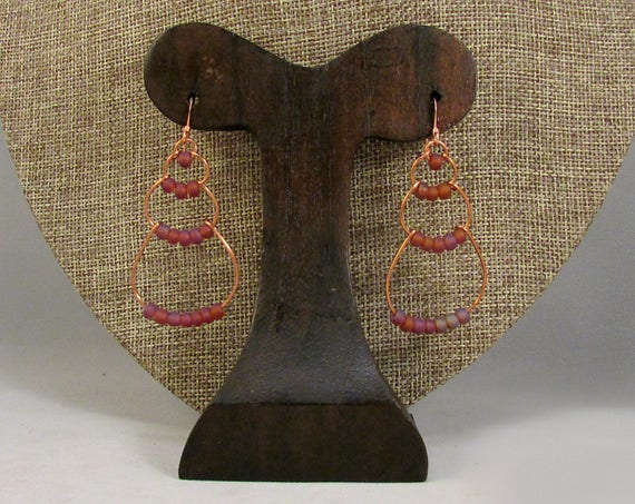 copper wire bubble earrings with purple beads
