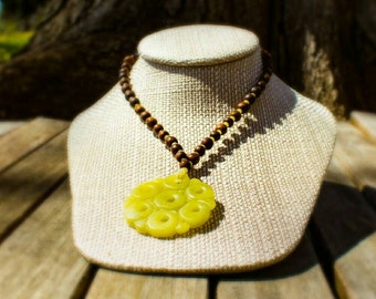 SALE! 20% off! Carved lemon jade pendant necklace