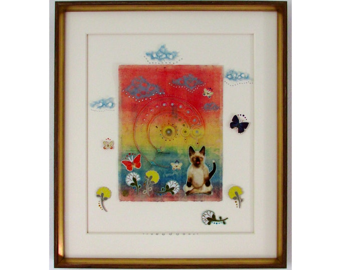 Yogi Kitty *CUSTOM FRAMED*
