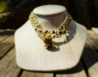SALE! 10% off! Child sized hemp necklace with lion bead