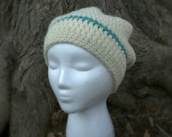 Off white slouchy hat with teal stripe