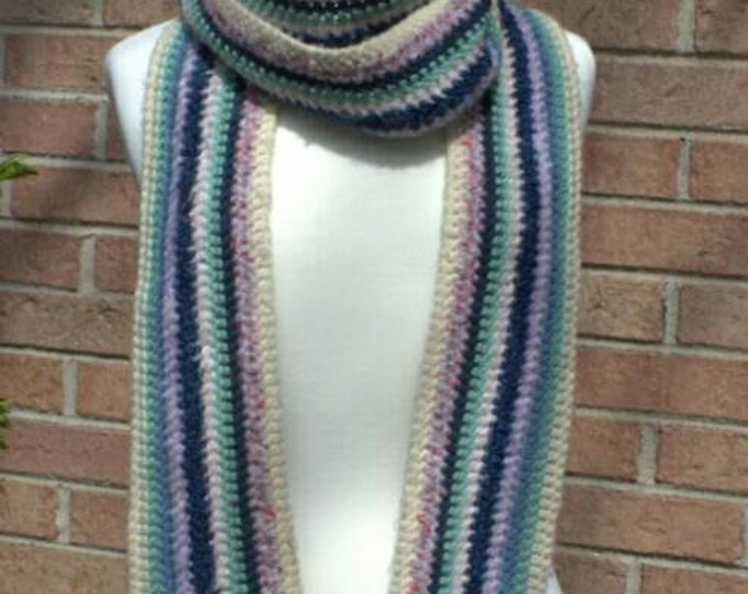 Extra long striped acrylic scarf in pastels