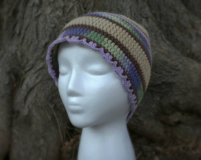 Purple, green and brown beanie