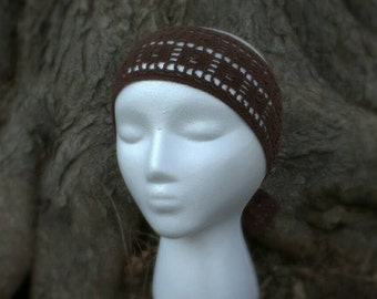 Brown crocheted tie-on headband