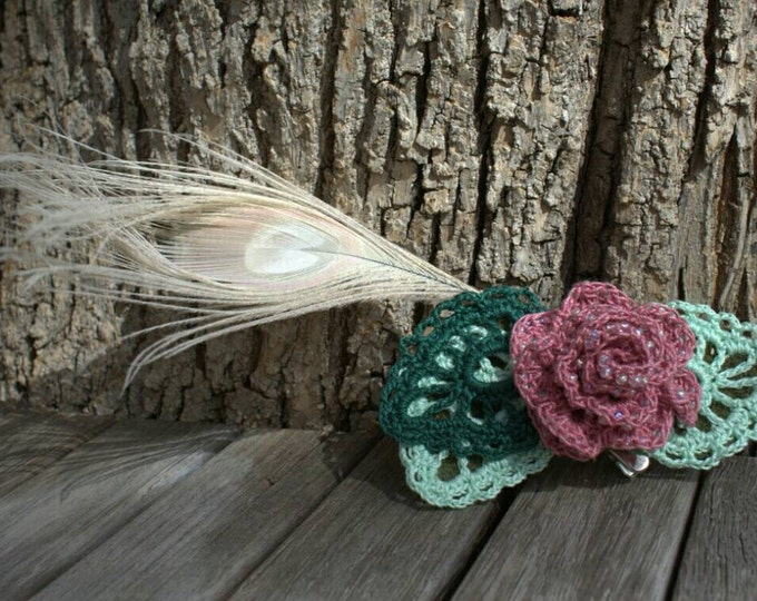 Crochet pink beaded rose and bleached peacock feather hairclip or hatpin