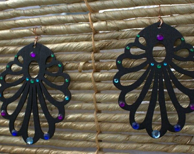SALE! 10% off! Black wood with green, blue and purple crystals drop earrings