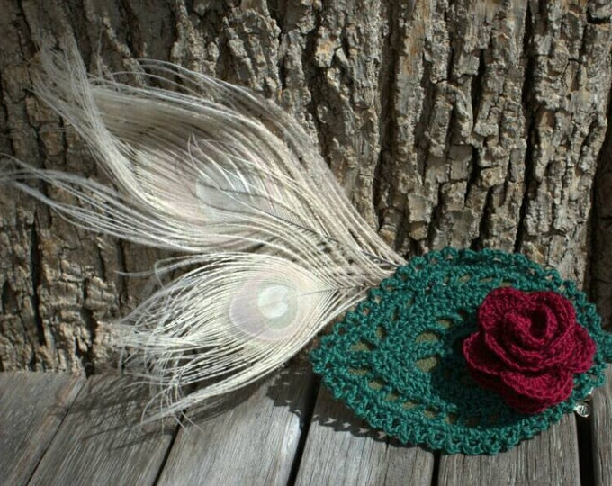 Crochet red rose and bleached peacock feather hairclip or hatpin
