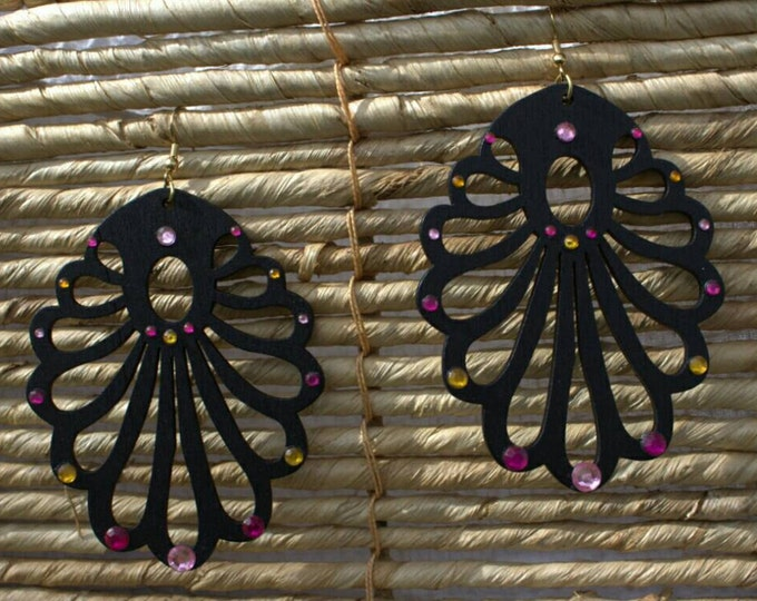 SALE! 10% off! Black wood with pink and yellow crystals drop earrings