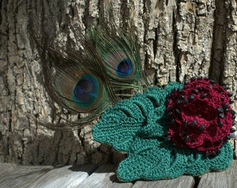 Crochet red beaded rose and feather hairclip or hatpin