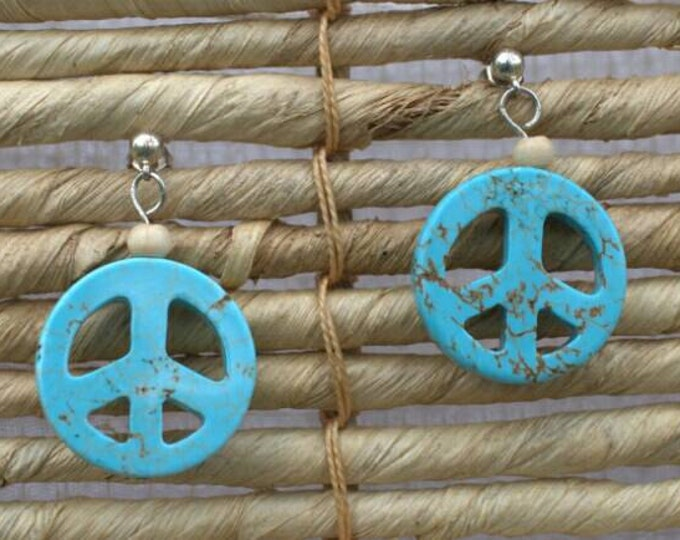 SALE 20% off! Blue peace sign earrings