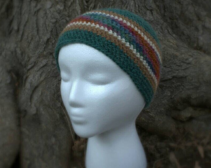 Alpaca striped beanie in earth tones