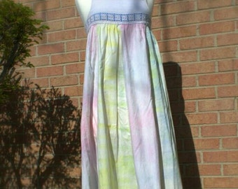 SALE! 20% off! Tie-dye maxi dress with crocheted bodice