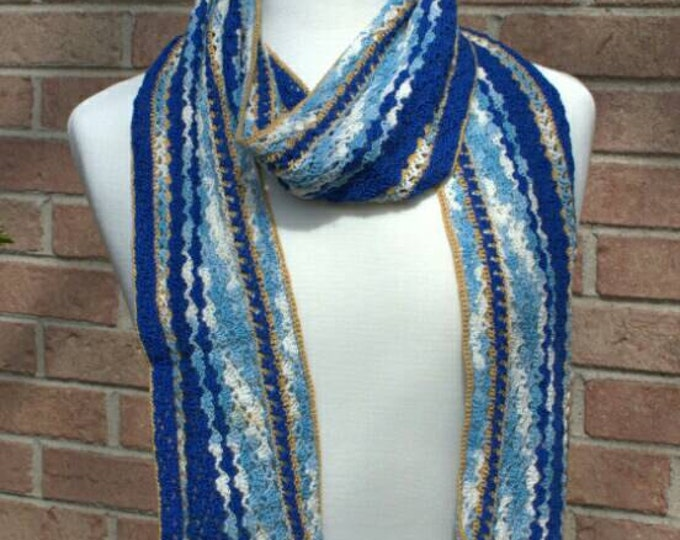 Blue and gold lightweight cotton scarf