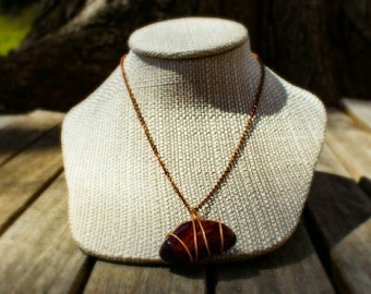 SALE! 10% off! Copper wrapped red agate necklace