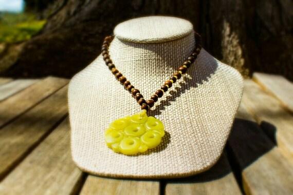 SALE! 20% off! Carved lemon jade pendant necklace