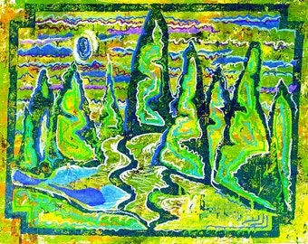 """High Quality Print of """"Meditation on the Mountains at Night"""""""