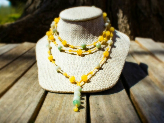 SALE! 10% off! Multi-strand necklace with jade and seed beads
