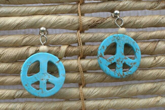 SALE 20% off! Blue peace sign earrings