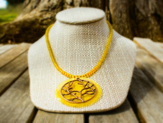 SALE! 10% off! Tree of life pendant necklace with yellow glass beads