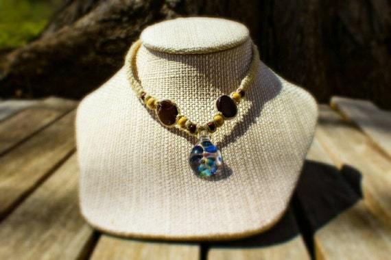 SALE! 10% off! Child sized hemp necklace with glass bead