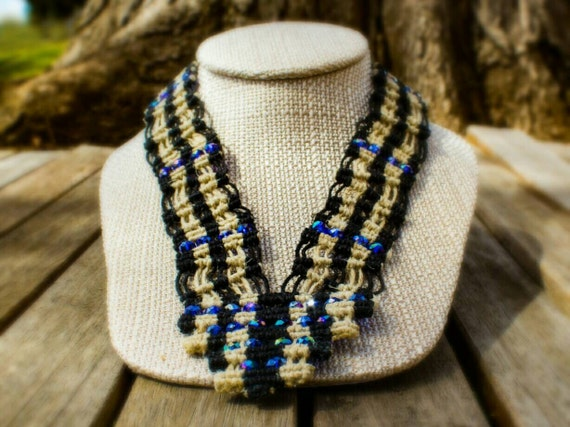 SALE! 10% off! Natural and black hemp necklace with glass beads