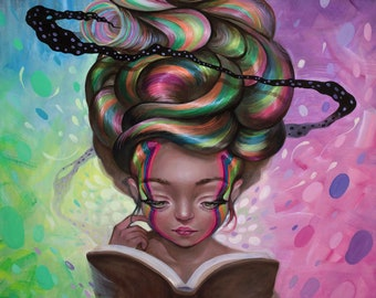 """Bookaholic Giclee Print 12""""X20"""" -Limited Edition of 105"""