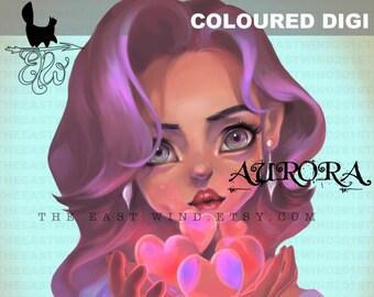 Farbige digitale Stempel-Aurora 'be my Valentine' - 300 dpi transparenten PNG-Datei - MAC0356C