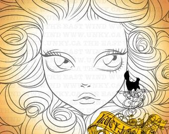 Digital Stamp- Lucy Loo- Hair Heaven ( Rose Garden ) - 300dpi JPEG/ PNG - MAC0167