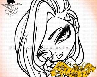 Digital stamp- Lucy Loo Chibi Doll 'Mini Heart'- 300dpi JPG/PNG files-Lucydollminiheart
