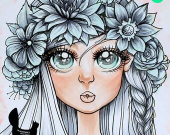Digital stamp- 'Aurora' Floral Kiss - 300 dpi JPEG/PNG files - MAC_aurora_11.jpg