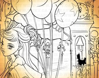 Digital Stamp - Aurora 'Balloons'+ 'Gastown' 300dpi JPEG- - MAC0242A