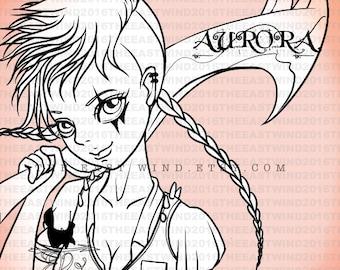 Digital Stamp- Aurora 'Warrior' - 300dpi JPEG/ PNG -MAC0261