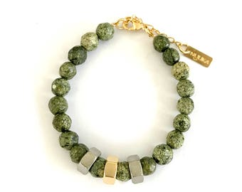 Gold green bracelet, natural stone bead bracelet, silver and gold accents, Nulika