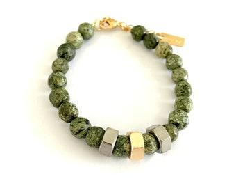 Green gold bracelet , natural stone bracelet,bead bracelets, Nulika