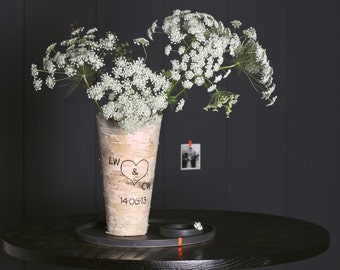 Personalised Real Birch Bark Vase - Rustic Wooden Customised Wedding Vase - 5th Anniversary Gift