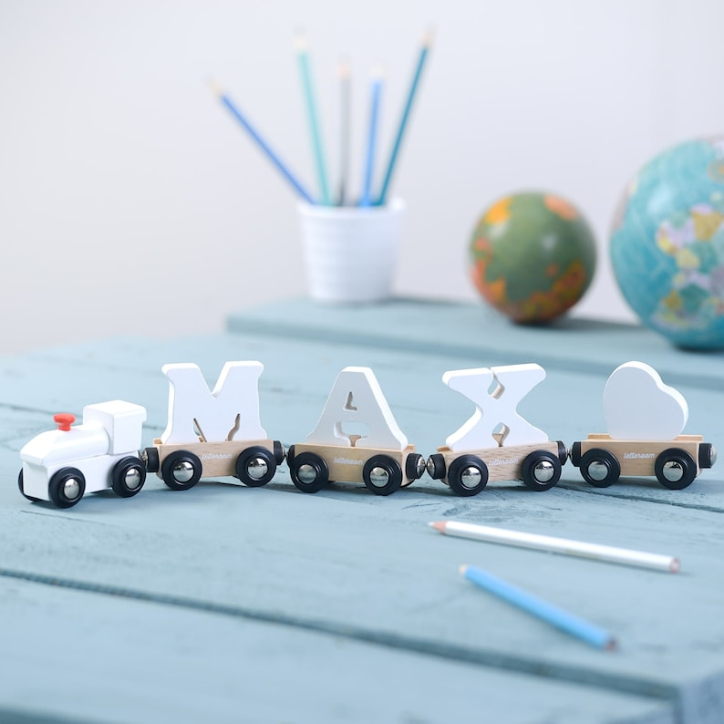 White Wooden Toy Train Christening Gift Christening Train White Letter Train With Heart Carriage Painted White Wood Toy Train