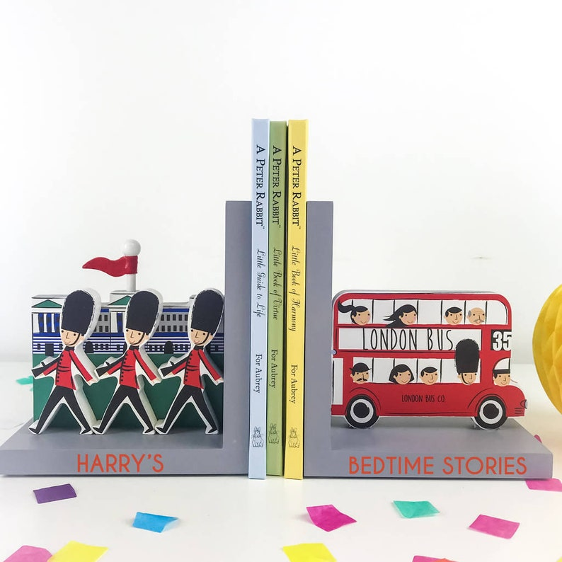 Personalised London Bookends Nursary New Baby Gift