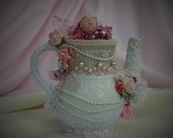 8a257af4d61 Teapot Centerpiece - Shabby Chic Teapot - Wedding Shower Centerpiece -Teapot  Centerpiece - Altered Teapot - Mothers Day Gift