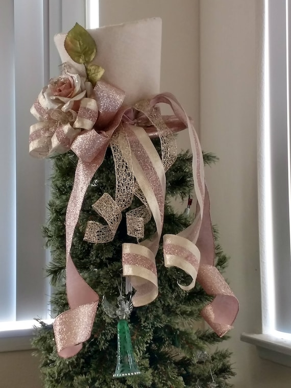 extra large burlap top hat christmas tree topper bow free etsy
